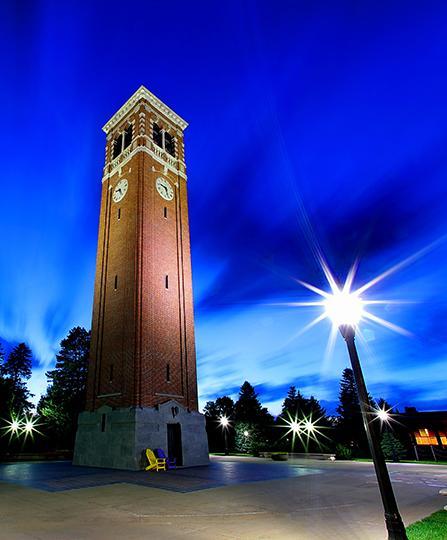 campanile at night