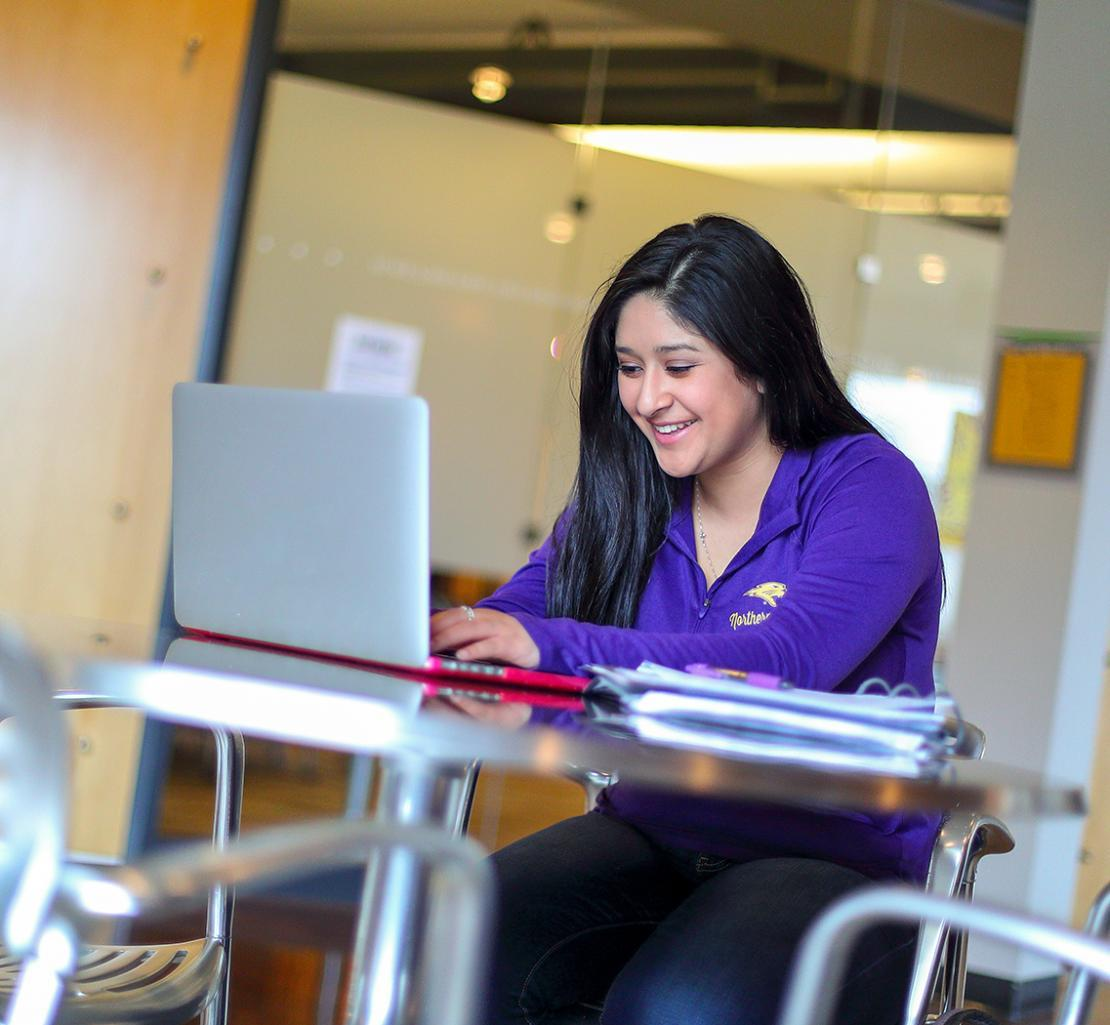 Image of student on a laptop